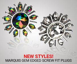 NEW STYLES!(MARQUIS GEM EDGED SCREW FIT PLUGS-PSGM6VM-PSGM5CC)