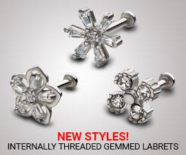 NEW STYLES!(INTERNALLY THREADED GEMMED LABRETS-LSIF81-LSIE81-LSIG81)